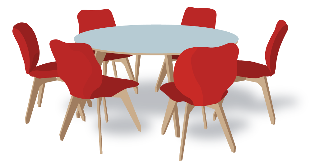 A round table with size red chairs